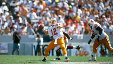 TAMPA BAY, FL - SEPTEMBER 24: Trent Dilfer #12 of the Tampa Bay Buccaneers drops back to pass against the Washington Redskins during an NFL football game September 24, 1995 at Tampa Stadium in Tampa Bay, Florida. Dilfer played for the Buccaneers from 1994-99. (Photo by Focus on Sport/Getty Images)