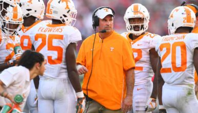 Head coach Jeremy Pruitt of the Tennessee Volunteers during the game against the Georgia Bulldogs on September 29, 2018 at Sanford Stadium in Athens, Georgia. (Photo by Scott Cunningham/Getty Images)