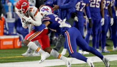 Demarcus Robinson #11 of the Kansas City Chiefs is tackled by Taron Johnson #24 of the Buffalo Bills during the second quarter at Bills Stadium on October 19, 2020 in Orchard Park, New York. (Photo by Bryan M. Bennett/Getty Images)