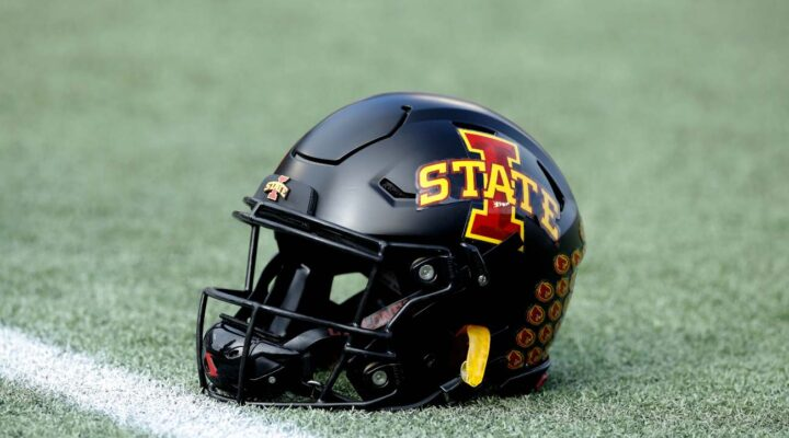 Detailed view of Iowa State Cyclones helmet on the field during the Camping World Bowl against the Notre Dame Fighting Irish at Camping World Stadium on Dec. 28, 2019, in Orlando, Florida. Notre Dame defeated Iowa State 33-9. (Photo by Joe Robbins/Getty Images)
