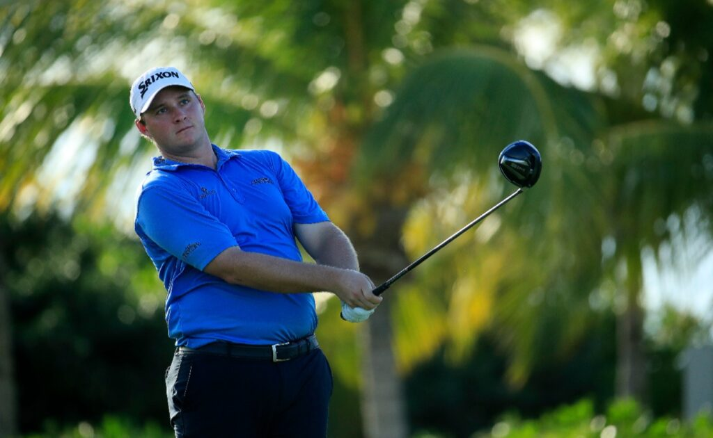 Sepp Straka plays his shot from the 16th tee during the second round of the Corales Puntacana Resort & Club Championship on September 25, 2020 in Punta Cana, Dominican Republic.