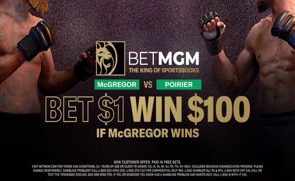BetMGM New customer offer banner for the McGregor vs. Poirier fight