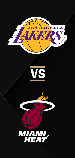 Los Angeles Lakers logo above the Miami Heat logo on a black background