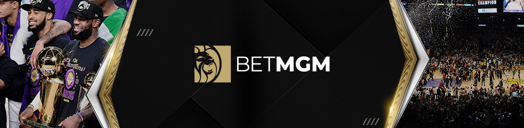 Footer with the BetMGM logo on a black background between a picture of the Lakers with the NBA trophy and a picture of the final game