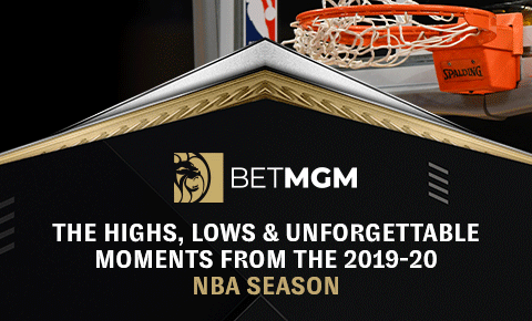 """BetMGM logo on a black background next to a basketball net over the title """"The highs, lows & unforgettable moments from the 2019-20 NBA season"""""""