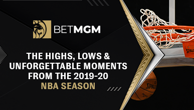"BetMGM logo on a black background next to a basketball net over the title ""The highs, lows & unforgettable moments from the 2019-20 NBA season"""