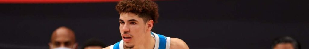 LaMelo Ball #2 of the Charlotte Hornets looks to pass during a game against the Toronto Raptors at Amalie Arena on January 16, 2021, in Tampa, Florida. (Photo by Mike Ehrmann/Getty Images)