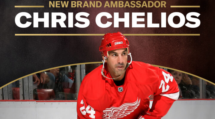 Chris Chelios with his Detroit Red Wings uniform for the Brand Ambassador banner