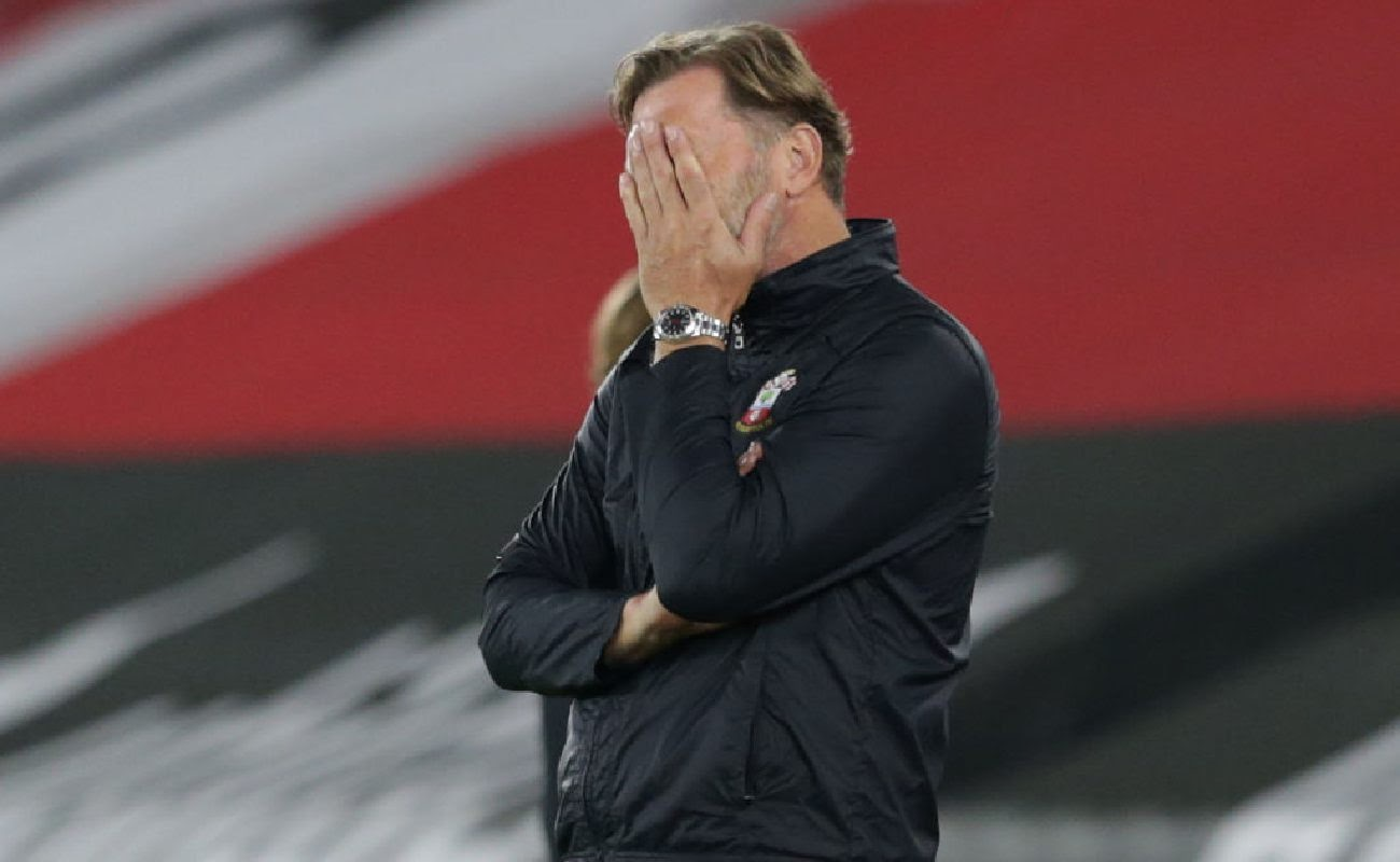 Southampton Manager Ralph Hasenhüttl Holds His Hand Over His Face - Photo By: Robin Jones/Getty Images