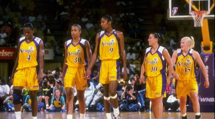 2 Jul 1998: The Los Angeles Sparks team looks on from the court during a game against the Utah Starzz at the Great Western Forum in Inglewood, California. The Starzz defeated the Sparks 58-57. Mandatory Credit: Todd Warshaw /Allsport