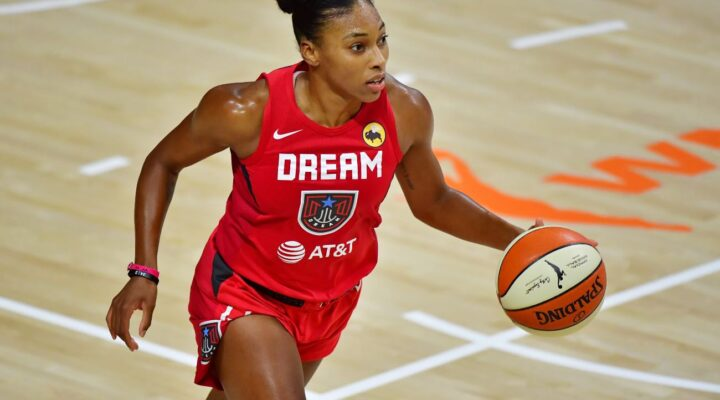 PALMETTO, FLORIDA - SEPTEMBER 11: Betnijah Laney #44 of the Atlanta Dream dribbles during the second half against the Connecticut Sun at Feld Entertainment Center on September 11, 2020 in Palmetto, Florida. (Photo by Julio Aguilar/Getty Images)