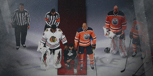 Canadian NHL player Matt Dumba takes the knee during U.S. anthem prior the Edmonton-Chicago game in August 2020.