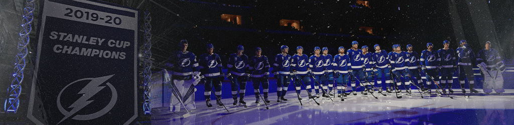 The The Tampa Bay Lightning receiving the 2019-2020 Stanley Cup