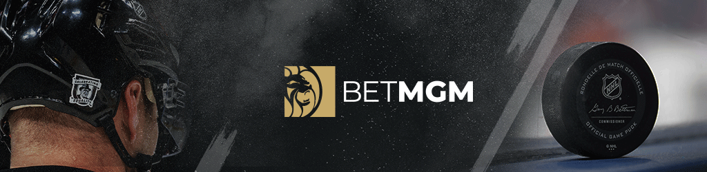 Collage of the BetMGM logo between a black puck on the right and an ice hockey player from behind on the left