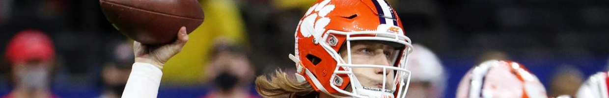 Trevor Lawrence #16 of the Clemson Tigers passes against the Ohio State Buckeyes in the second half during the College Football Playoff semifinal game at the Allstate Sugar Bowl at Mercedes-Benz Superdome on January 01, 2021, in New Orleans, Louisiana. (Photo by Chris Graythen/Getty Images)