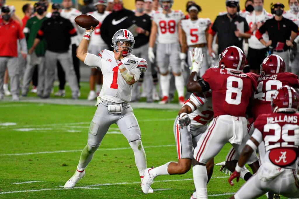 Justin Fields #1 of the Ohio State Buckeyes throws the ball during the College Football Playoff National Championship football game against the Alabama Crimson Tide at Hard Rock Stadium on January 11, 2021, in Miami Gardens, Florida. The Alabama Crimson Tide defeated the Ohio State Buckeyes 52-24. (Photo by Alika Jenner/Getty Images)