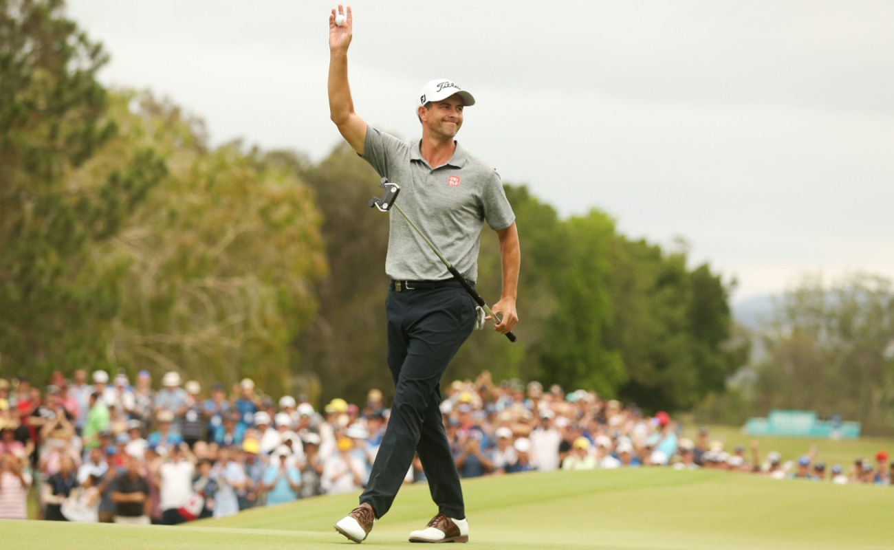 Adam Scott of Australia celebrates winning the PGA Championships at RACV Royal Pines on December 22, 2019 in Gold Coast, Australia. (Photo by Chris Hyde/Getty Images)