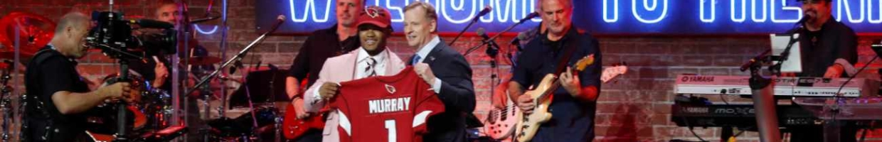 NFL commissioner Roger Goodell poses with quarterback Kyler Murray after being drafted first overall on day 1 of the 2019 NFL Draft on April 25, 2019, in Nashville, Tennessee. (Photo by Frederick Breedon/Getty Images)