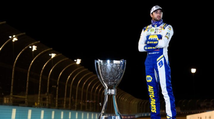 AVONDALE, ARIZONA - NOVEMBER 08: Chase Elliott, driver of the #9 NAPA Auto Parts Chevrolet, poses for a photo after winning the NASCAR Cup Series Season Finale 500 and the 2020 NASCAR Cup Series Championship at Phoenix Raceway on November 08, 2020 in Avondale, Arizona. (Photo by Jared C. Tilton/Getty Images)