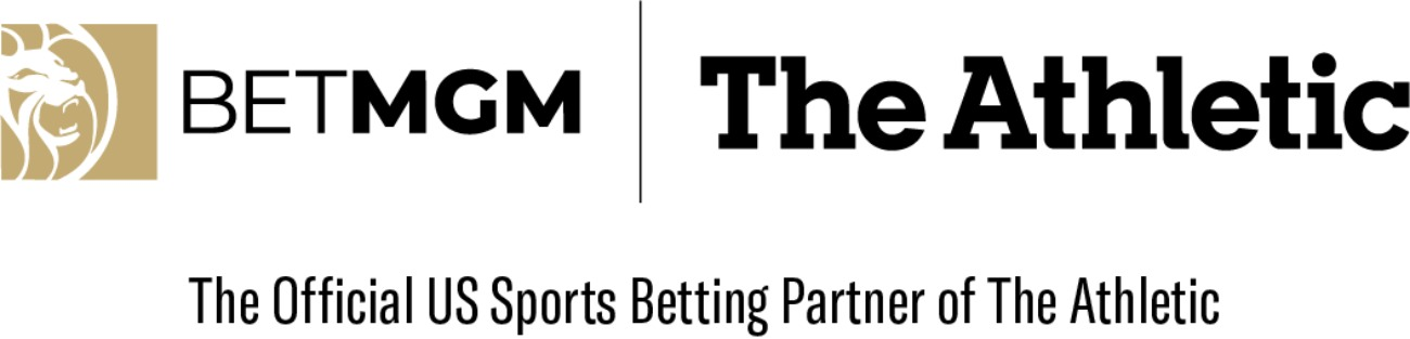 BetMGM logo next to The Athletic logo on a white background