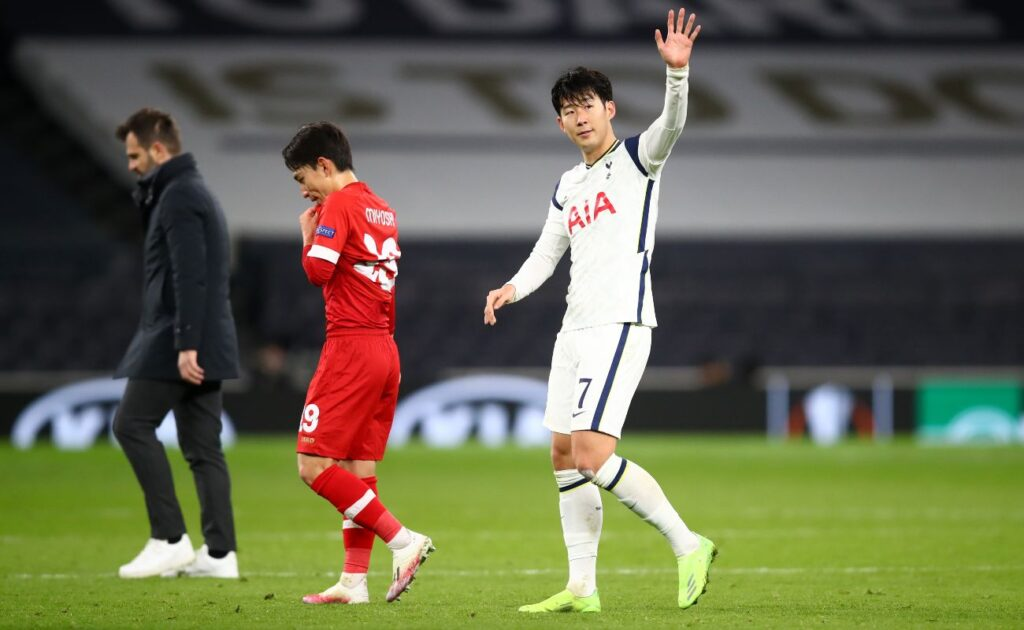 LONDON, ENGLAND - DECEMBER 10: Son Heung-Min of Tottenham Hotspur shows his appreciation to the fans after the UEFA Europa League Group J stage match between Tottenham Hotspur and Royal Antwerp at Tottenham Hotspur Stadium on December 10, 2020 in London, England. A limited number of fans (2000) are welcomed back to stadiums to watch elite football across England. This was following easing of restrictions on spectators in tiers one and two areas only. (Photo by Julian Finney/Getty Images)