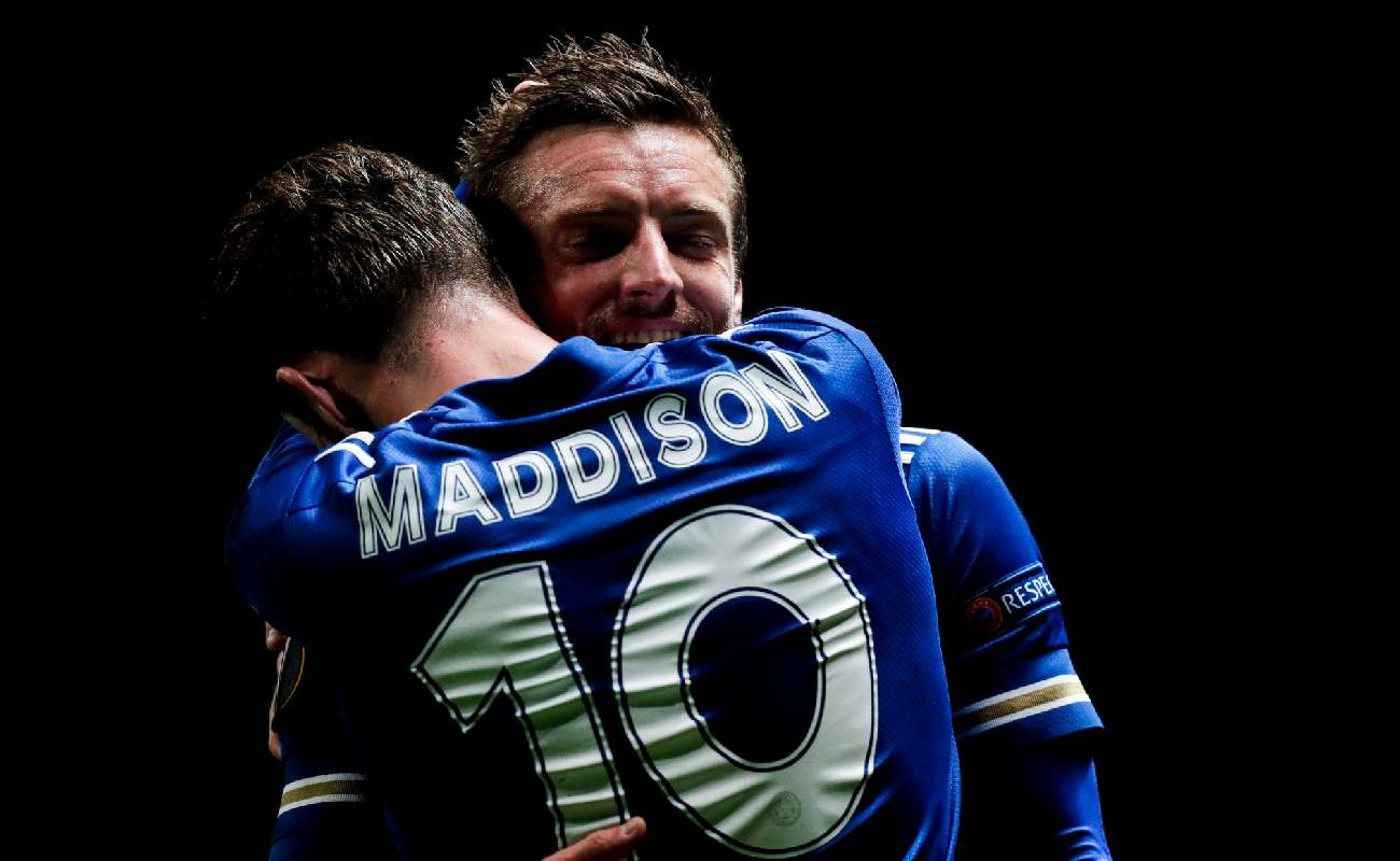 Jamie Vardy and James Maddison of Leicester embrace - Photo by David S. Bustamante/Soccrates/Getty Images