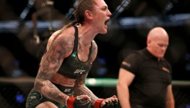 MELBOURNE, AUSTRALIA - OCTOBER 06: Megan Anderson of Australia celebrates her win over Zarah Fairn of France in the Women's featherweight bout during UFC 243 at Marvel Stadium on October 06, 2019 in Melbourne, Australia. (Photo by Darrian Traynor/Getty Images)