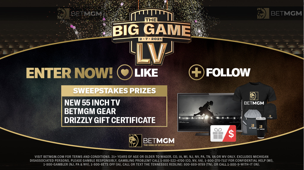 The Big Games Giveaway banner for BetMGM'S Super Bowl competition.