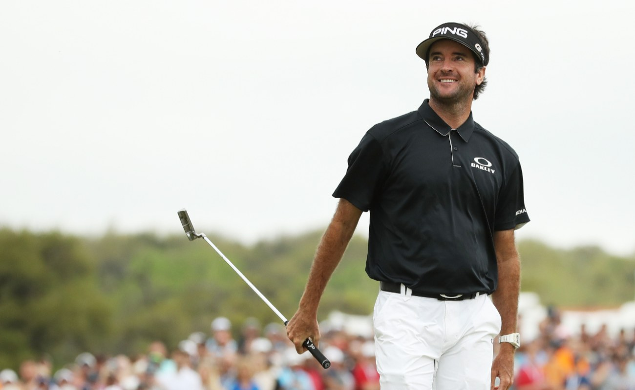 Bubba Watson of the United States reacts on the 13th green during his semifinal round match against Justin Thomas of the United States in the World Golf Championships-Dell Match Play at Austin Country Club on March 25, 2018 in Austin, Texas. (Photo by Gregory Shamus/Getty Images)