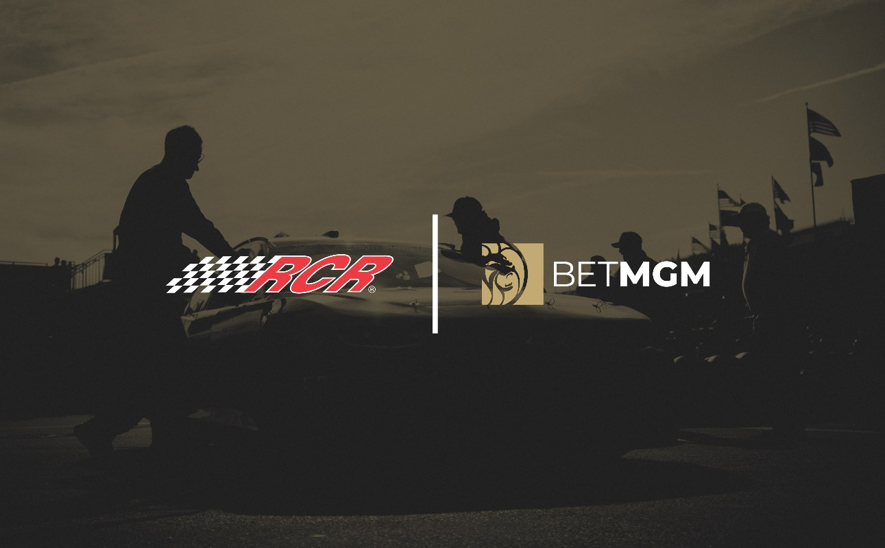 RCR logo next to the BetMGM logo with car drivers on the background