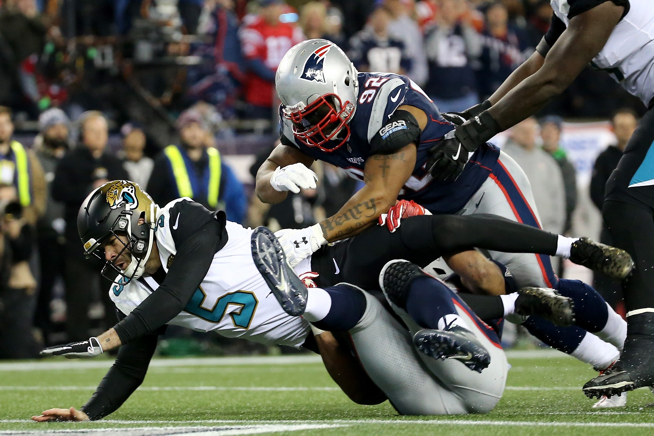 FOXBOROUGH, MA - JANUARY 21: Blake Bortles #5 of the Jacksonville Jaguars is tackled in the second half against James Harrison #92 of the New England Patriots during the AFC Championship Game at Gillette Stadium on January 21, 2018 in Foxborough, Massachusetts. (Photo by Jim Rogash/Getty Images)