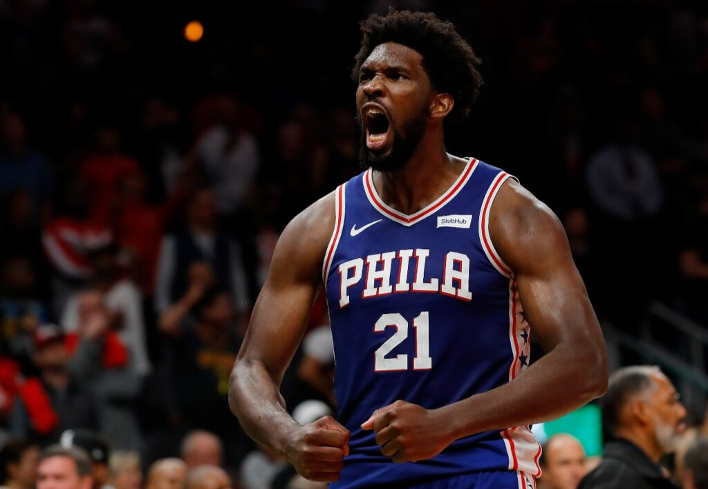 Joel Embiid #21 of the Philadelphia 76ers reacts after their 105-103 win over the Atlanta Hawks at State Farm Arena on October 28, 2019 in Atlanta, Georgia. NOTE TO USER: User expressly acknowledges and agrees that, by downloading and/or using this photograph, user is consenting to the terms and conditions of the Getty Images License Agreement. (Photo by Kevin C. Cox/Getty Images)