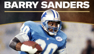 BetMGM banner with Barry Sanders on the football field