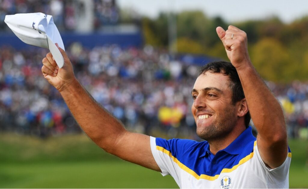 Francesco Molinari of Europe celebrates winning The Ryder Cup during singles matches of the 2018 Ryder Cup at Le Golf National on September 30, 2018 in Paris, France. (Photo by Stuart Franklin/Getty Images)