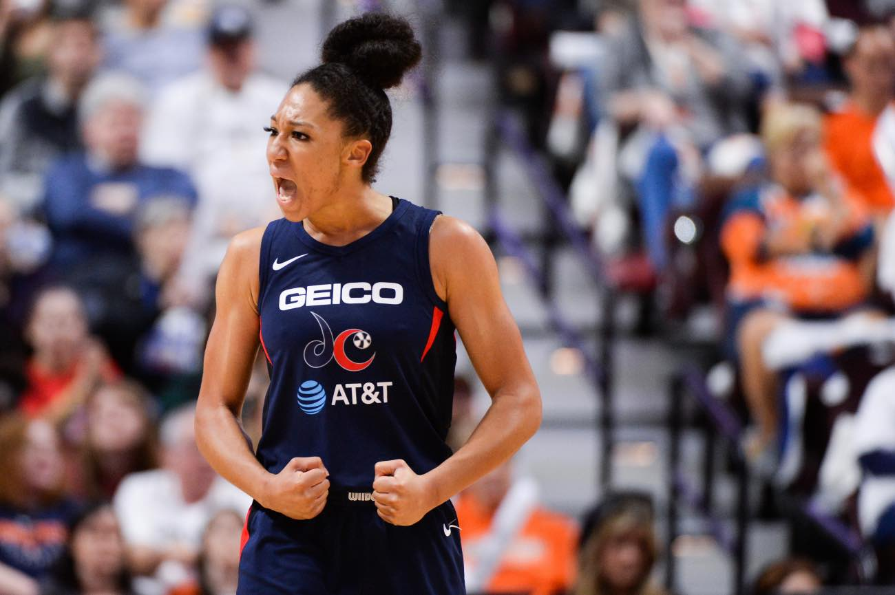 UNCASVILLE, CT - OCTOBER 6: Aerial Powers #23 of the Washington Mystics reacts during action against the Connecticut Sun in the third quarter of Game 3 of the WNBA Finals at Mohegan Sun Arena on October 6, 2019 in Uncasville, Connecticut. (Photo by Kathryn Riley/Getty Images)