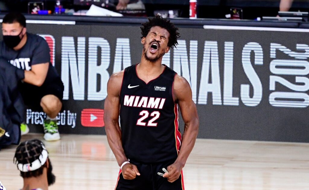 Jimmy Butler #22 of the Miami Heat reacts during the second half against the Los Angeles Lakers in Game Three of the 2020 NBA Finals at AdventHealth Arena at ESPN Wide World Of Sports Complex on October 04, 2020 in Lake Buena Vista, Florida. (Photo by Douglas P. DeFelice/Getty Images)