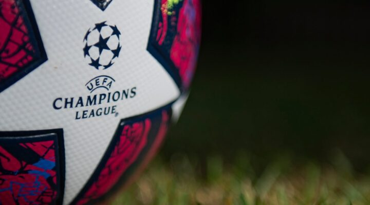 The UEFA Champions League logo on a matchday ball – photo by Visionhaus.