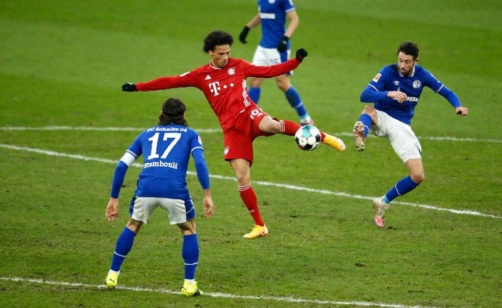 Leroy Sané of Bayern Munich volleys the ball towards goal – photo by Leon Kuegeler – Pool/Getty Images.