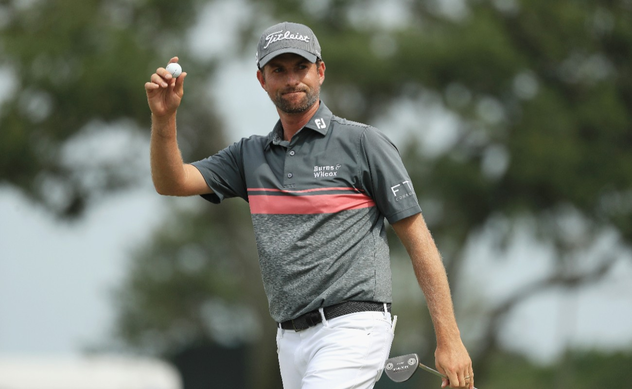 MAY 12: Webb Simpson of the United States reacts on the ninth green during the third round of THE PLAYERS Championship on the Stadium Course at TPC Sawgrass on May 12, 2018 in Ponte Vedra Beach, Florida.