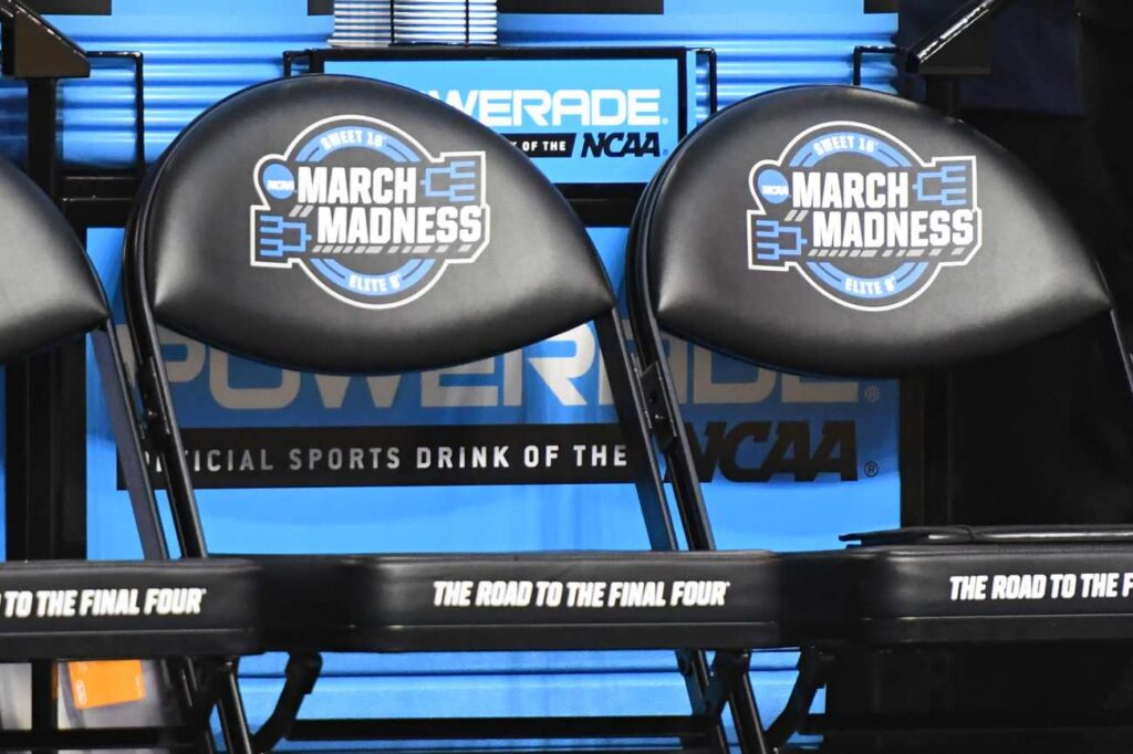 BOSTON, MA - MARCH 23: NCAA logos on chairs before the 2018 NCAA Men's Basketball Tournament East Regional between the Villanova Wildcats and the West Virginia Mountaineers at TD Garden on March 23, 2018 in Boston, Massachusetts. The Wildcats won 71-59. Photo by Mitchell Layton/Getty Images)