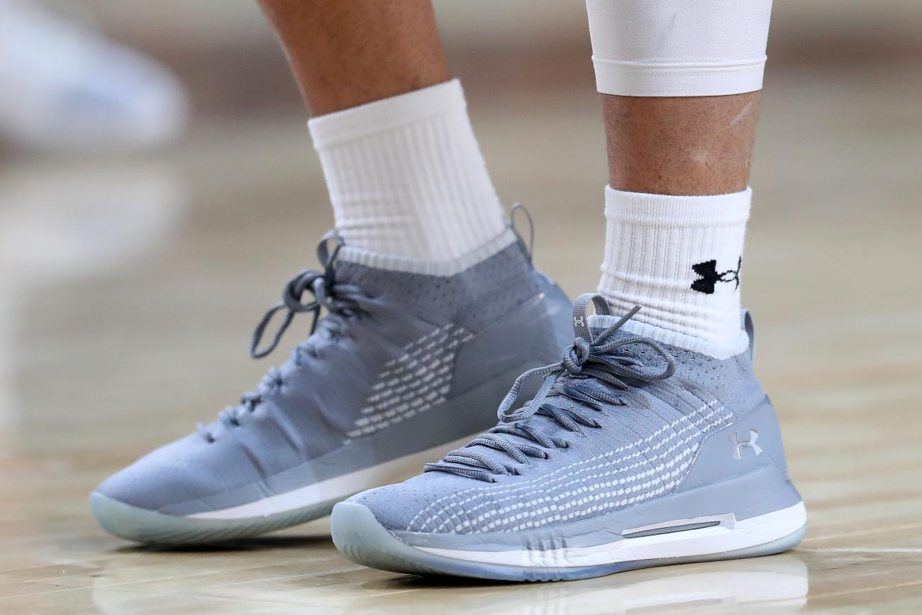 MINNEAPOLIS, MINNESOTA - APRIL 05: A detail view of Under Armour sneakers worn by the Auburn Tigers during practice prior to the 2019 NCAA men's Final Four at U.S. Bank Stadium on April 5, 2019 in Minneapolis, Minnesota. (Photo by Tom Pennington/Getty Images)