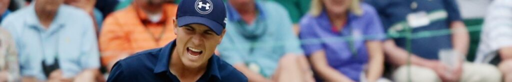 Jordan Spieth of the United States reacts to a par-saving putt on the 16th green during the final round of the 2015 Masters Tournament at Augusta National Golf Club on April 12, 2015 in Augusta, Georgia. (Photo by Andrew Redington/Getty Images)