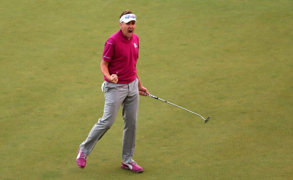 Ian Poulter of Europe reacts after a birdie on the 17th hole during day two of the Afternoon Four-Ball Matches for The 39th Ryder Cup at Medinah Country Club on September 29, 2012 in Medinah, Illinois. (Photo by Andy Lyons/Getty Images)