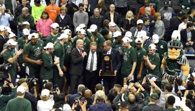 WASHINGTON, DC - MARCH 31: The Michigan State Spartans celebrate winning the East Regional game of the 2019 NCAA Men's Basketball Tournament against the Duke Blue Devils at Capital One Arena on March 29, 2019 in Washington, DC. (Photo by Mitchell Layton/Getty Images)
