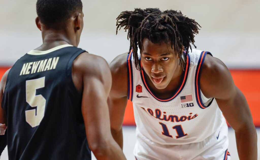 CHAMPAIGN, IL - JANUARY 02: Ayo Dosunmu #11 of the Illinois Fighting Illini stares down Brandon Newman #5 of the Purdue Boilermakers at State Farm Center on January 2, 2021 in Champaign, Illinois. (Photo by Michael Hickey/Getty Images)