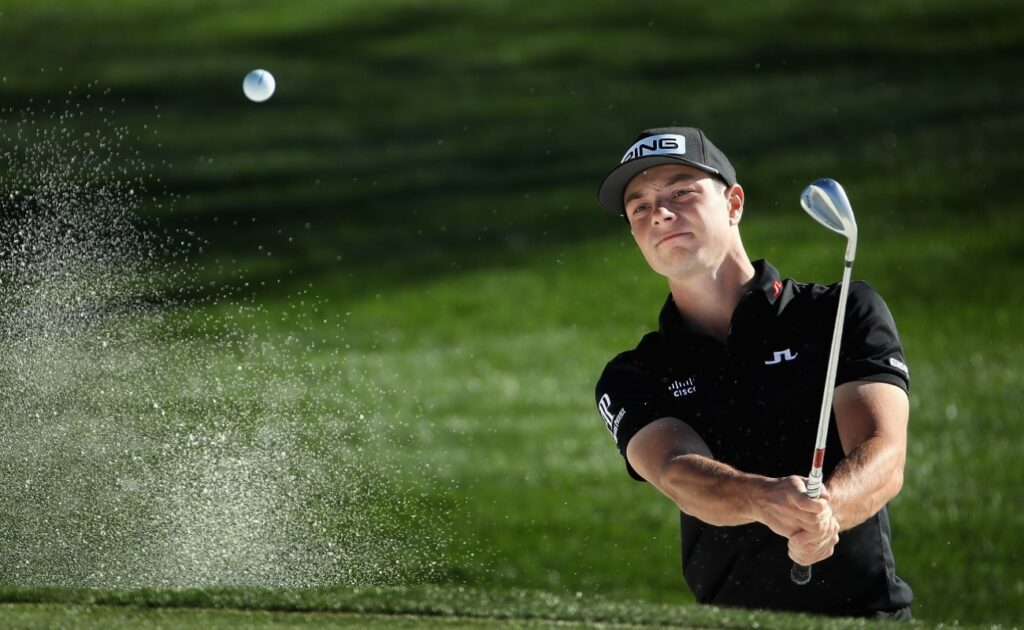 Viktor Hovland of Norway chips from the bunker onto the fifth green during the second round of the Waste Management Open at TPC Scottsdale on January 31, 2020 in Scottsdale, Arizona. (Photo by Christian Petersen/Getty Images)