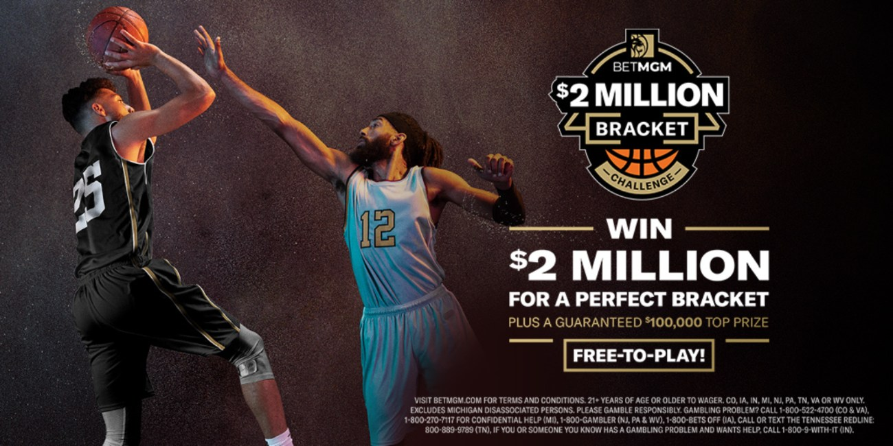 BetMGM $2 Million Bracket Challenge Logo with two basketball players contesting for a ball.