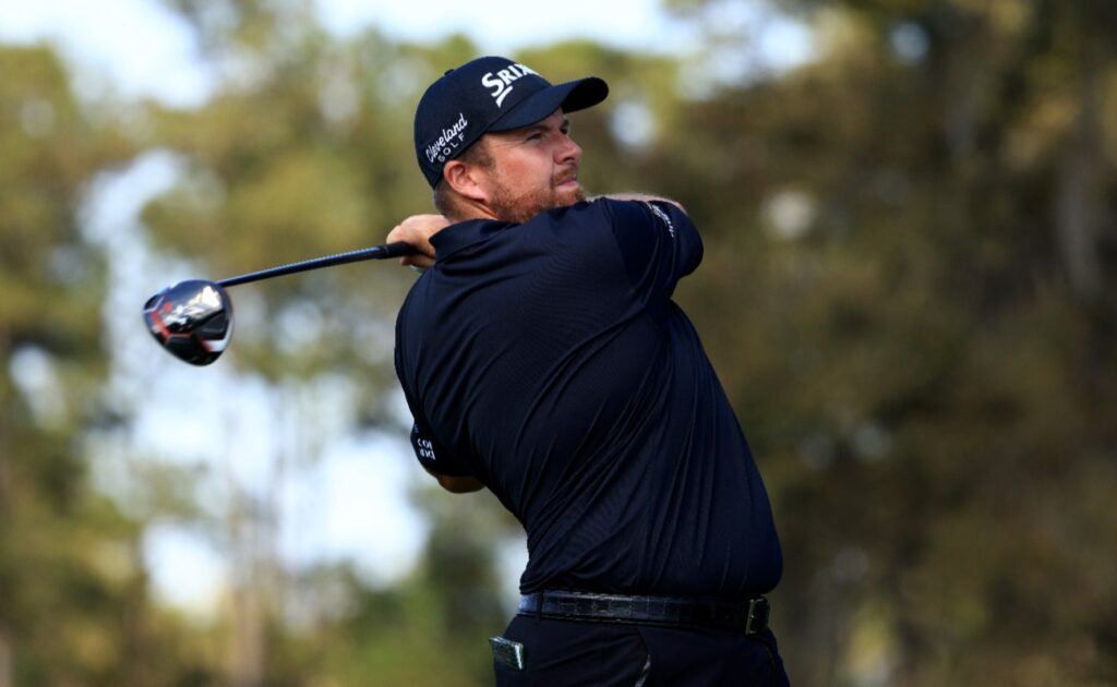 Shane Lowry of Ireland plays his shot from the 16th tee during the final round of THE PLAYERS Championship on THE PLAYERS Stadium Course at TPC Sawgrass on March 14, 2021 in Ponte Vedra Beach, Florida.