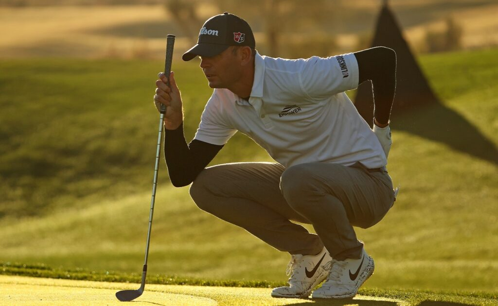 Brendan Steele of the United States lines up a putt on the 10th hole during the second round of the Waste Management Phoenix Open at TPC Scottsdale on February 05, 2021 in Scottsdale, Arizona.