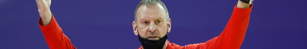 Head coach Larry Krystkowiak of the Utah Utes reacts during the second half against the Washington Huskies at Alaska Airlines Arena on January 24, 2021 in Seattle, Washington. (Photo by Steph Chambers/Getty Images)